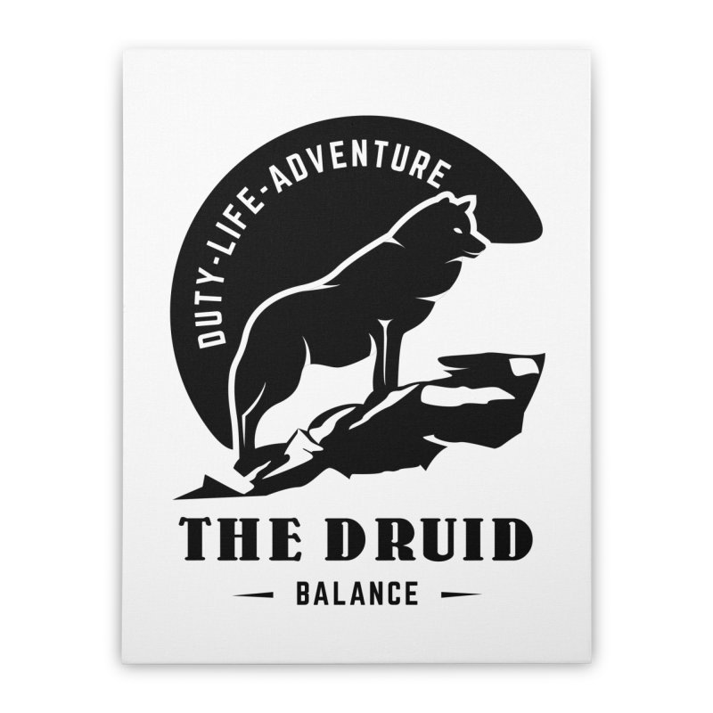 The Druid - Black Home Stretched Canvas by fantastic worlds pod's Artist Shop