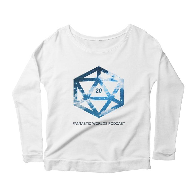 Logo - Black Text Women's Scoop Neck Longsleeve T-Shirt by Fantastic Worlds Podcast  Shop