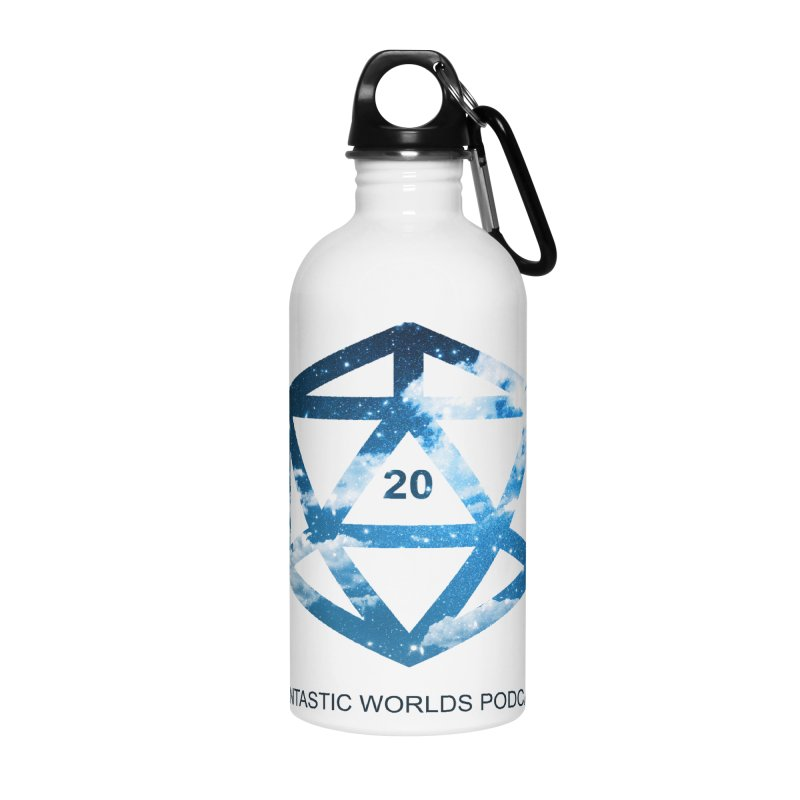 Logo - Black Text Accessories Water Bottle by fantastic worlds pod's Artist Shop