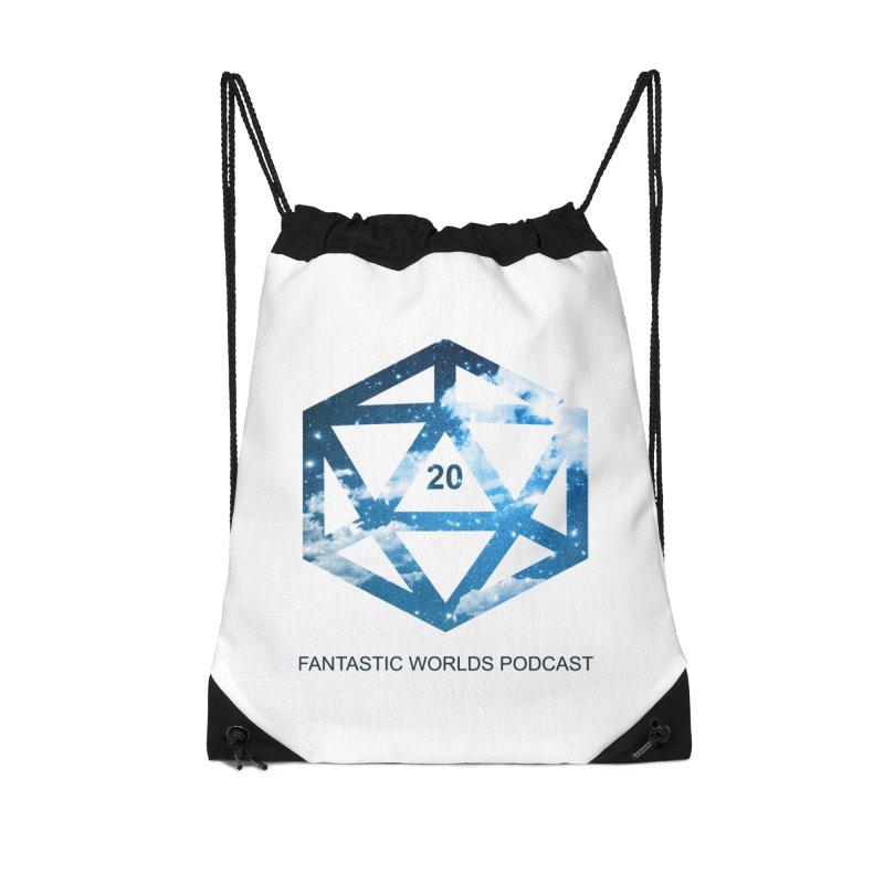 Logo - Black Text Accessories Drawstring Bag Bag by fantastic worlds pod's Artist Shop
