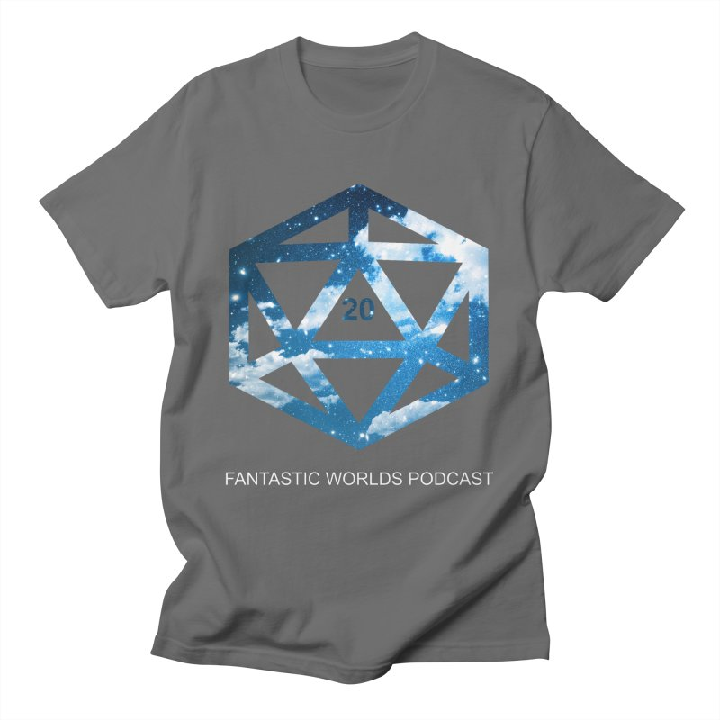 Logo - White Text Men's T-Shirt by Fantastic Worlds Podcast  Shop