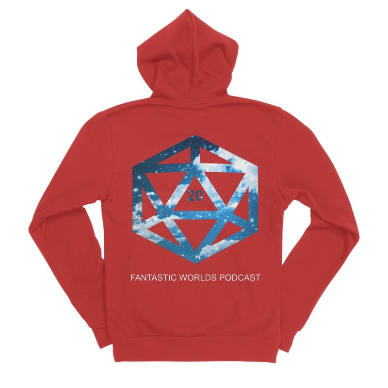 Logo - White Text Men's Zip-Up Hoody by Fantastic Worlds Podcast  Shop