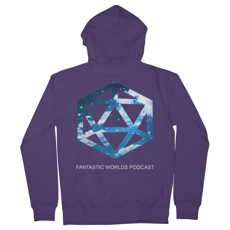 Logo - White Text Women's French Terry Zip-Up Hoody by fantastic worlds pod's Artist Shop
