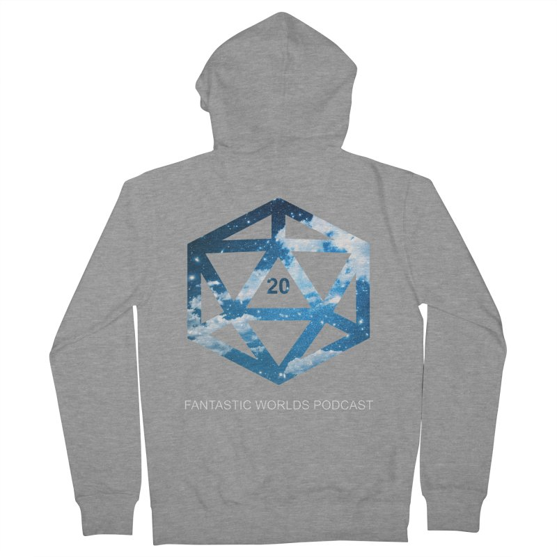 Logo - White Text Men's French Terry Zip-Up Hoody by fantastic worlds pod's Artist Shop