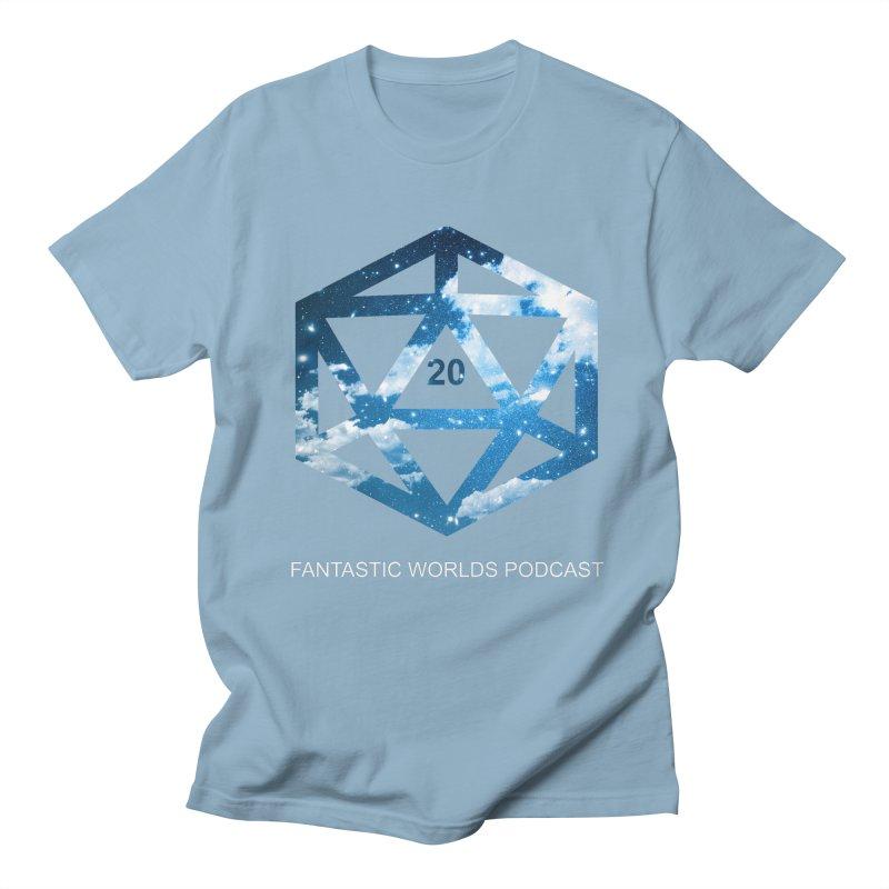 Logo - White Text Men's Regular T-Shirt by Fantastic Worlds Podcast  Shop