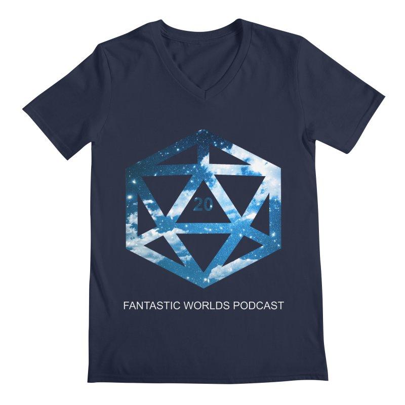 Logo - White Text Men's Regular V-Neck by Fantastic Worlds Podcast  Shop