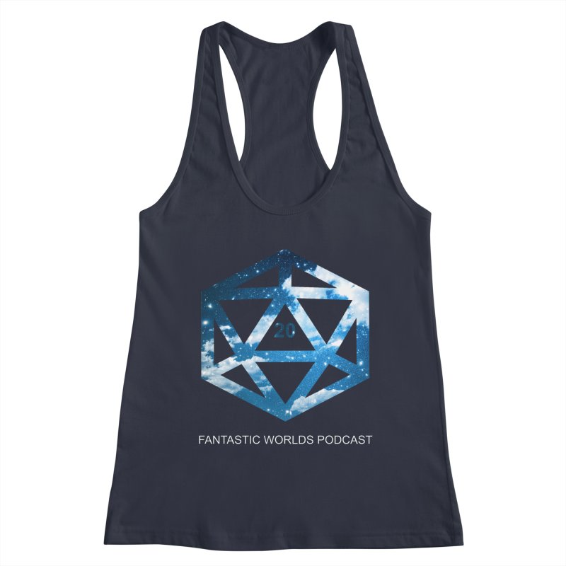 Logo - White Text Women's Racerback Tank by Fantastic Worlds Podcast  Shop