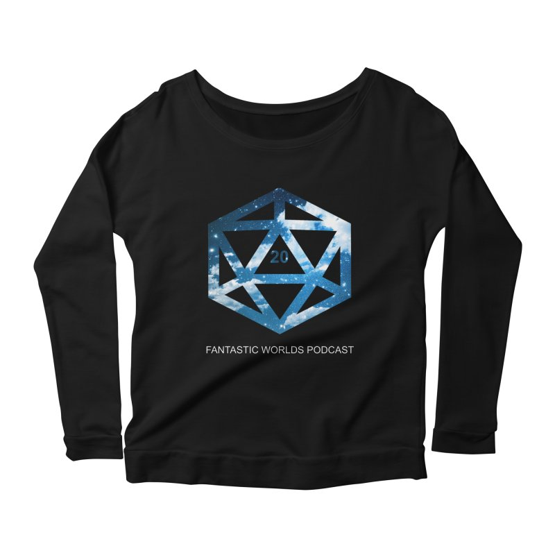 Logo - White Text Women's Scoop Neck Longsleeve T-Shirt by fantastic worlds pod's Artist Shop