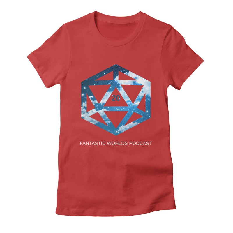Logo - White Text Women's Fitted T-Shirt by fantastic worlds pod's Artist Shop