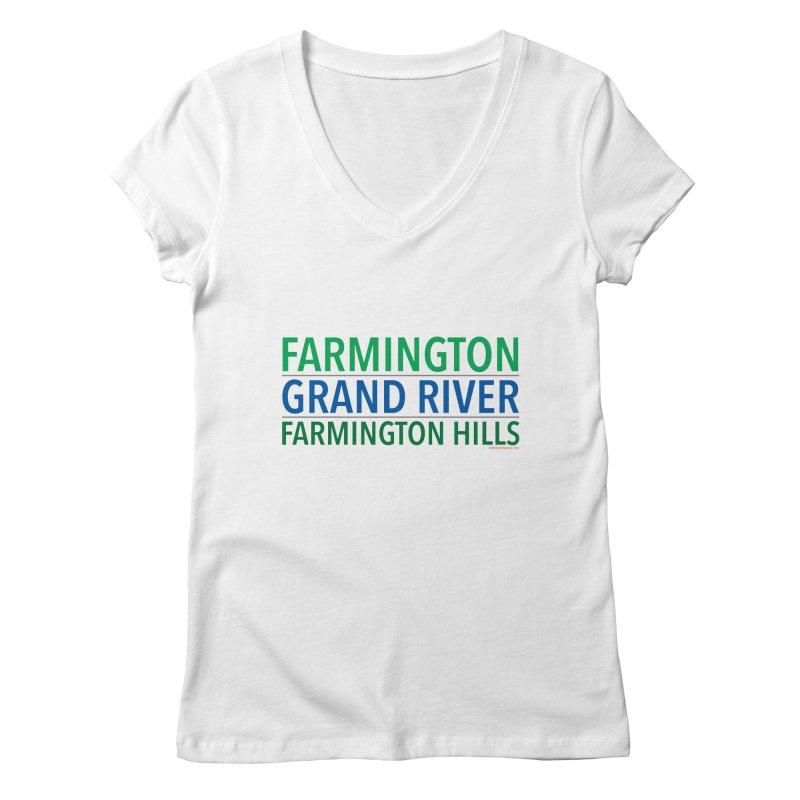 A (Grand) river runs through it Women's V-Neck by farmingtonvoice's Artist Shop