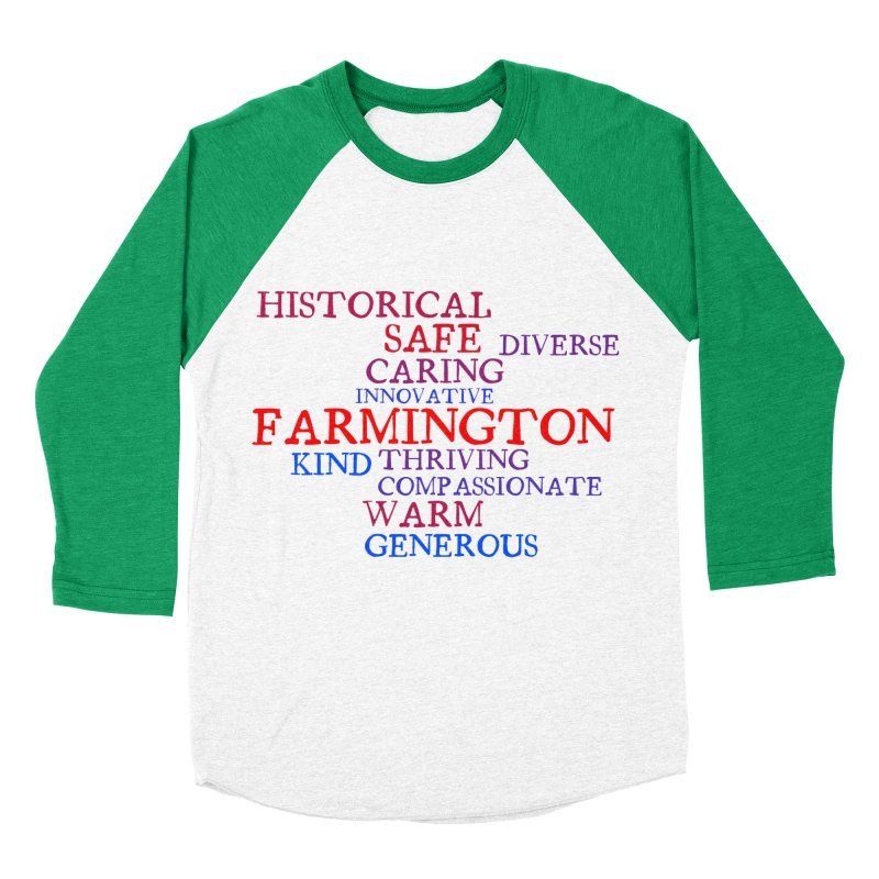 Farmington Word Cloud Women's Baseball Triblend T-Shirt by farmingtonvoice's Artist Shop