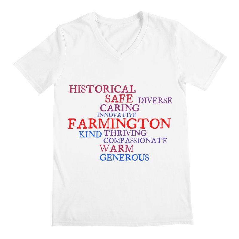 Farmington Word Cloud Men's Regular V-Neck by farmingtonvoice's Artist Shop