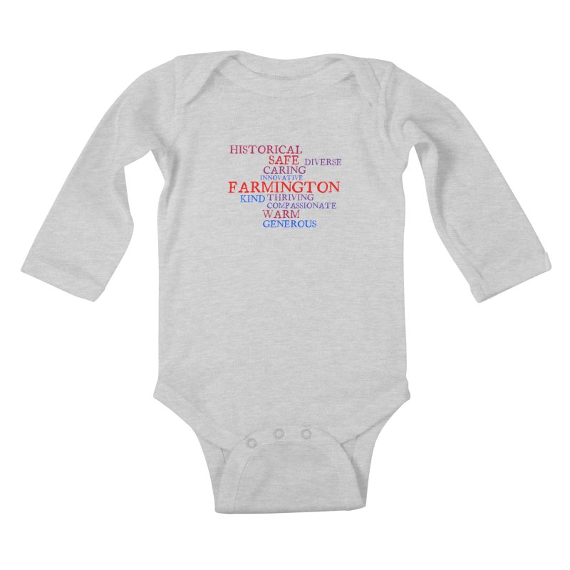 Farmington Word Cloud Kids Baby Longsleeve Bodysuit by farmingtonvoice's Artist Shop