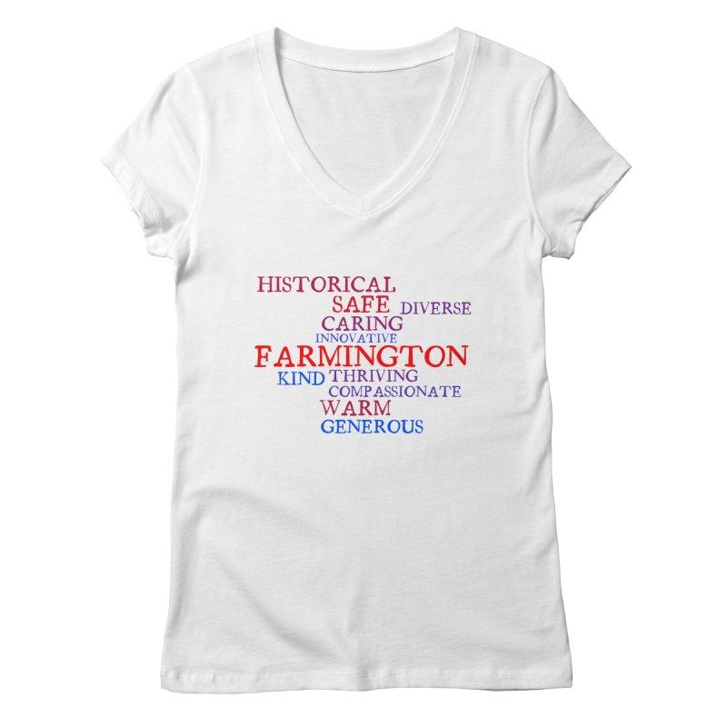 Farmington Word Cloud Women's V-Neck by farmingtonvoice's Artist Shop