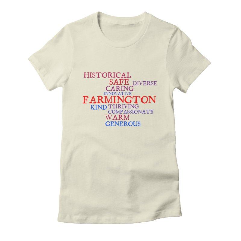 Farmington Word Cloud Women's Fitted T-Shirt by farmingtonvoice's Artist Shop