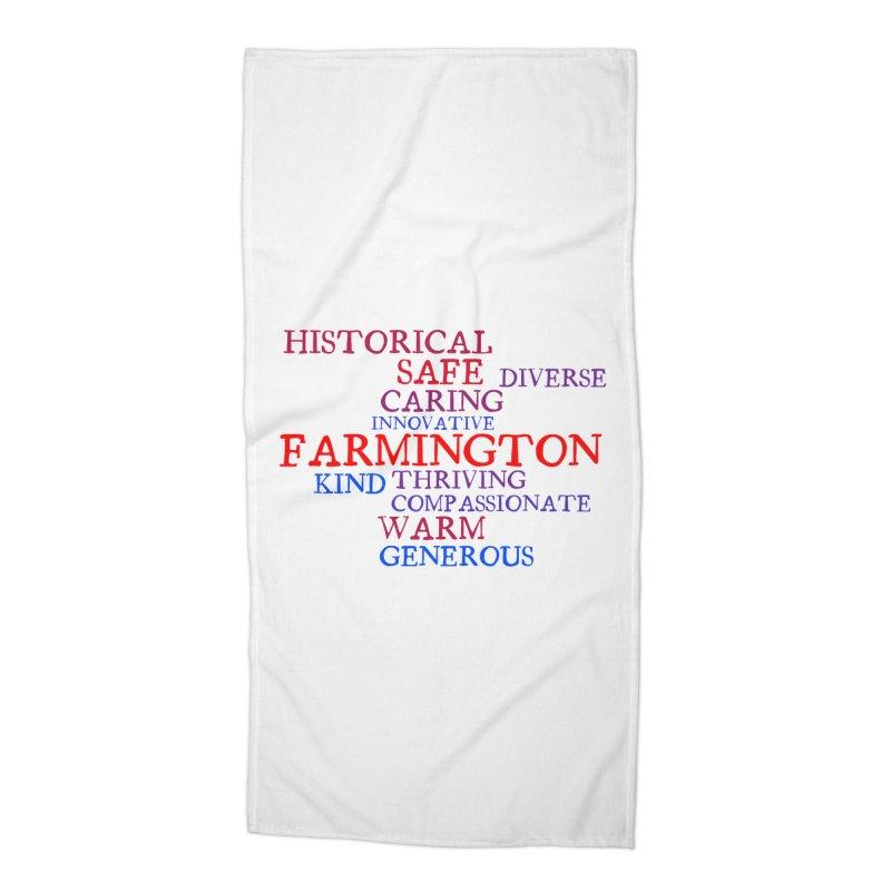 Farmington Word Cloud Accessories Beach Towel by farmingtonvoice's Artist Shop