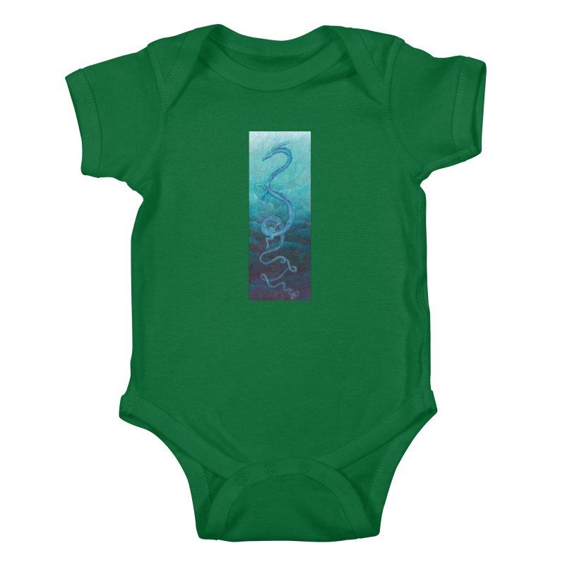 Pthalo Dragon Kids Baby Bodysuit by farorenightclaw's Shop