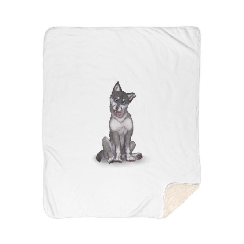 Wolf Pup Home Sherpa Blanket Blanket by farorenightclaw's Shop