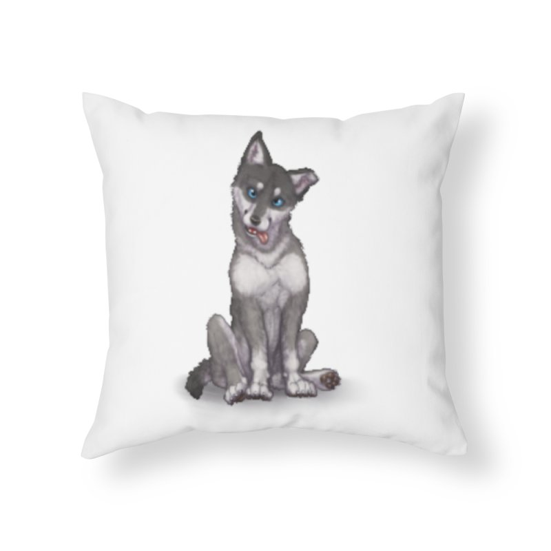 Wolf Pup Home Throw Pillow by farorenightclaw's Shop