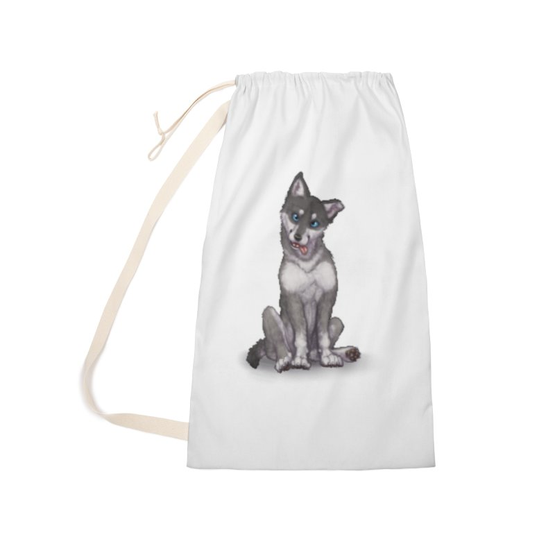 Wolf Pup Accessories Laundry Bag Bag by farorenightclaw's Shop