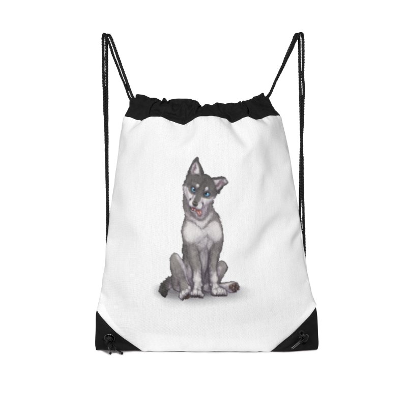 Wolf Pup Accessories Drawstring Bag Bag by farorenightclaw's Shop