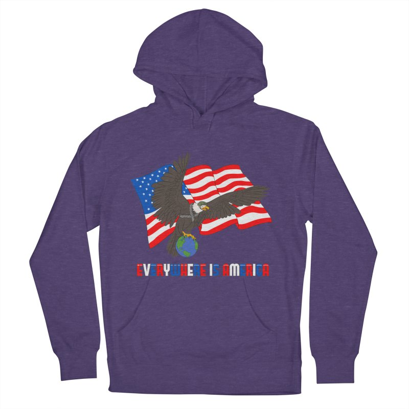 EVERYWHERE IS AMERICA Men's French Terry Pullover Hoody by farorenightclaw's Shop