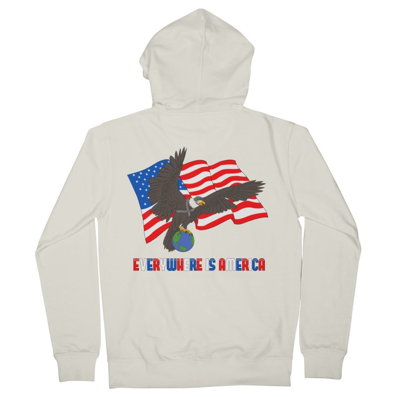 EVERYWHERE IS AMERICA Women's French Terry Zip-Up Hoody by farorenightclaw's Shop