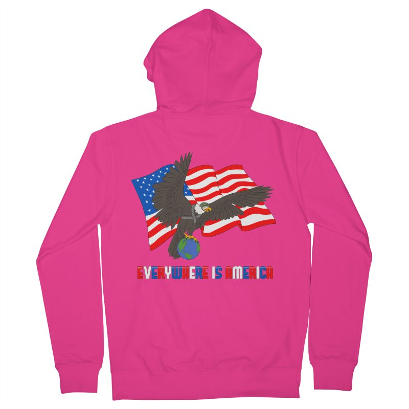 EVERYWHERE IS AMERICA Men's French Terry Zip-Up Hoody by farorenightclaw's Shop