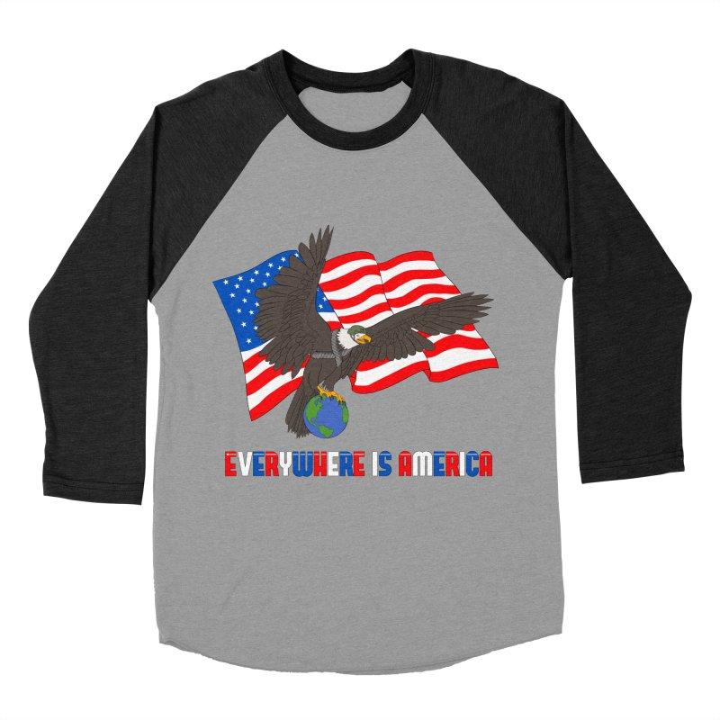 EVERYWHERE IS AMERICA Men's Baseball Triblend Longsleeve T-Shirt by farorenightclaw's Shop