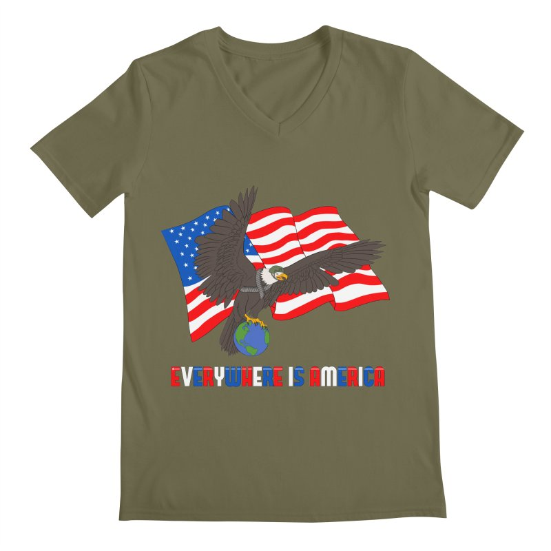 EVERYWHERE IS AMERICA Men's Regular V-Neck by farorenightclaw's Shop