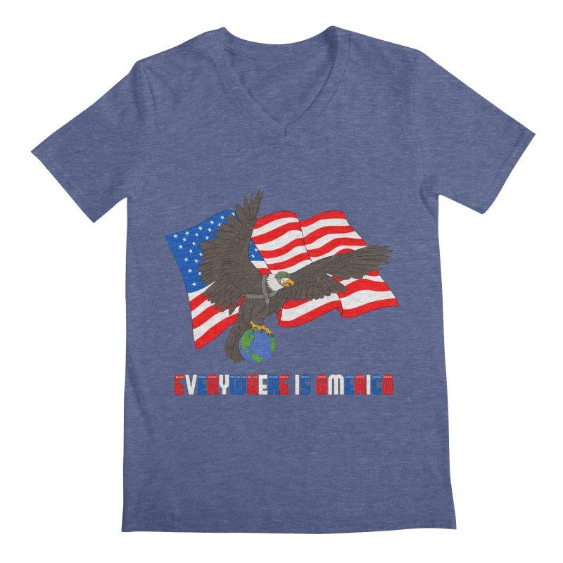 EVERYWHERE IS AMERICA Men's V-Neck by farorenightclaw's Shop