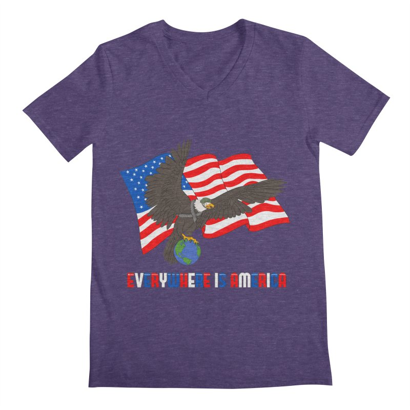 EVERYWHERE IS AMERICA Men's V-Neck by farorenightclaw's Shop