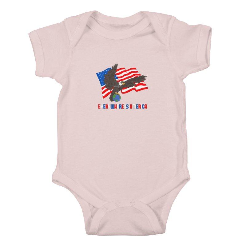EVERYWHERE IS AMERICA Kids Baby Bodysuit by farorenightclaw's Shop