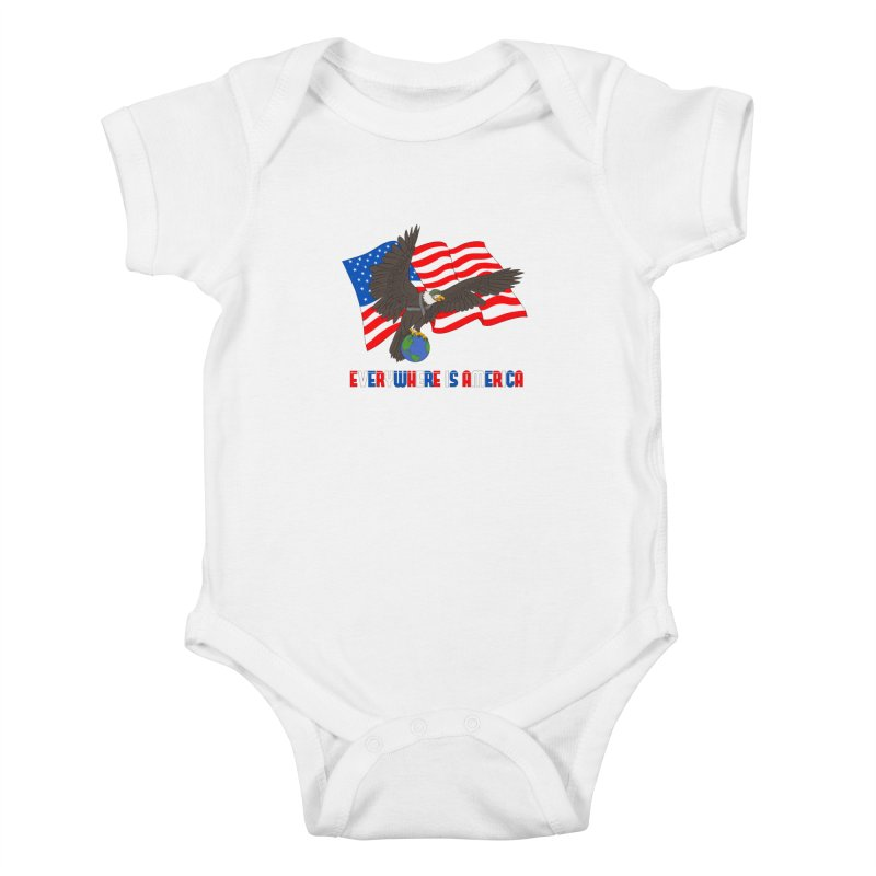 EVERYWHERE IS AMERICA Kids Baby Bodysuit by farorenightclaw's Shop