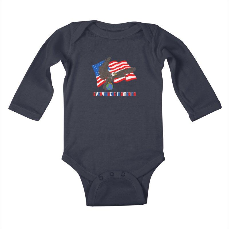EVERYWHERE IS AMERICA Kids Baby Longsleeve Bodysuit by farorenightclaw's Shop