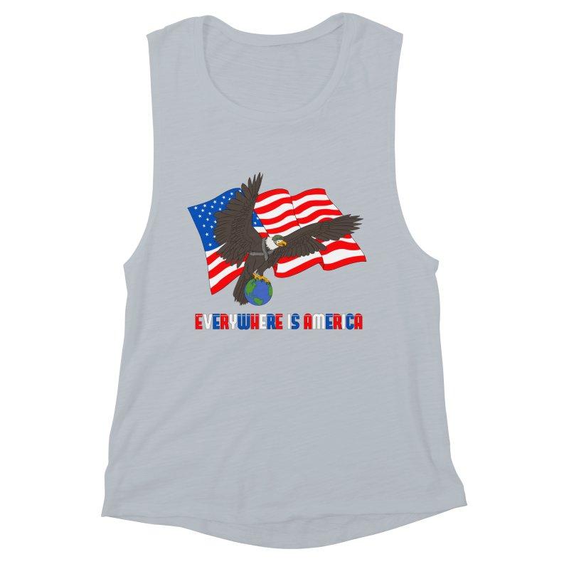 EVERYWHERE IS AMERICA Women's Muscle Tank by farorenightclaw's Shop