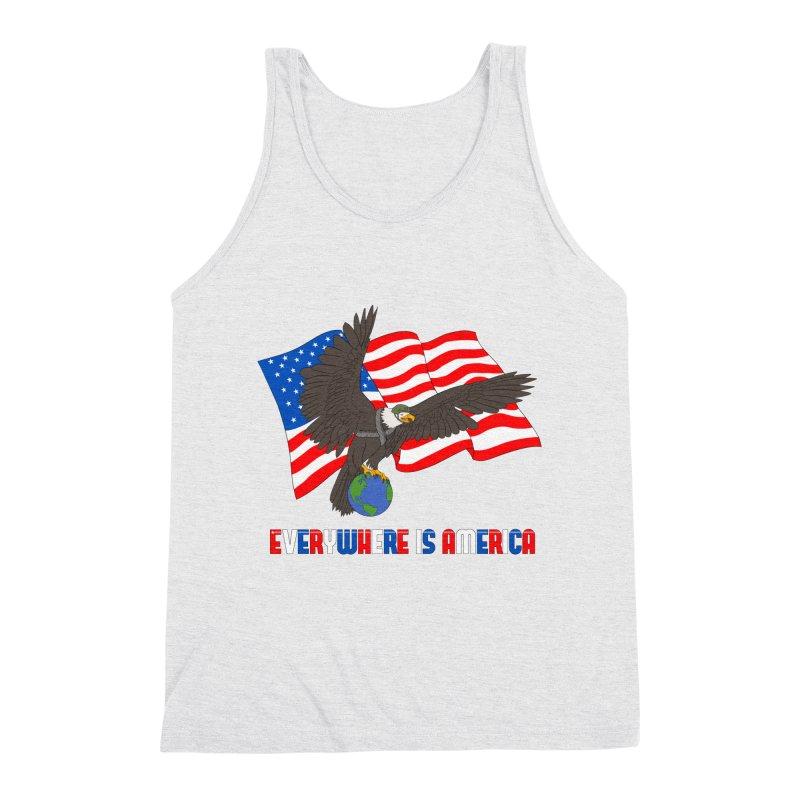 EVERYWHERE IS AMERICA Men's Triblend Tank by farorenightclaw's Shop