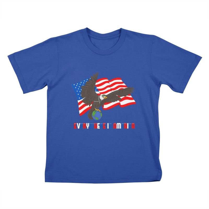 EVERYWHERE IS AMERICA Kids T-Shirt by farorenightclaw's Shop
