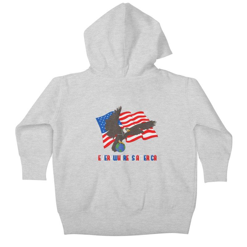 EVERYWHERE IS AMERICA Kids Baby Zip-Up Hoody by farorenightclaw's Shop
