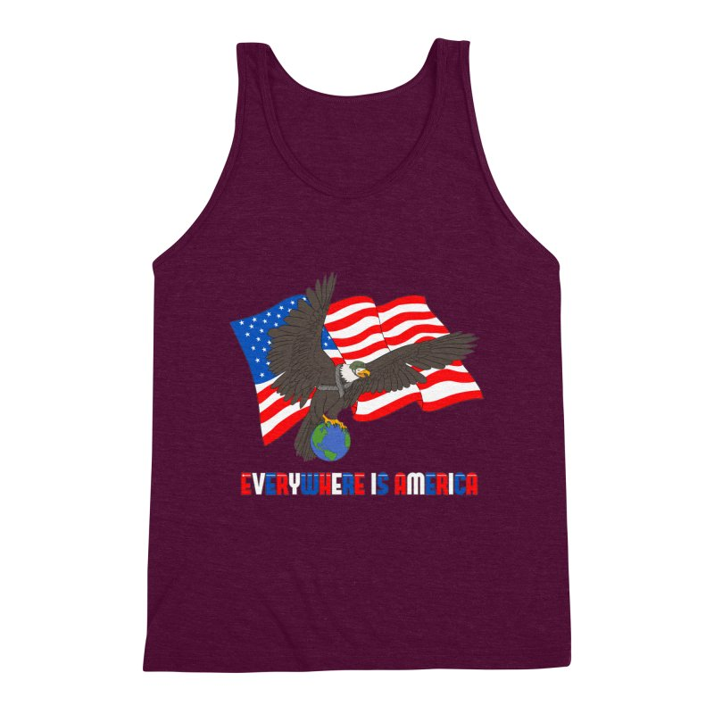 EVERYWHERE IS AMERICA Men's Triblend Tank by farorenightclaw's Shop