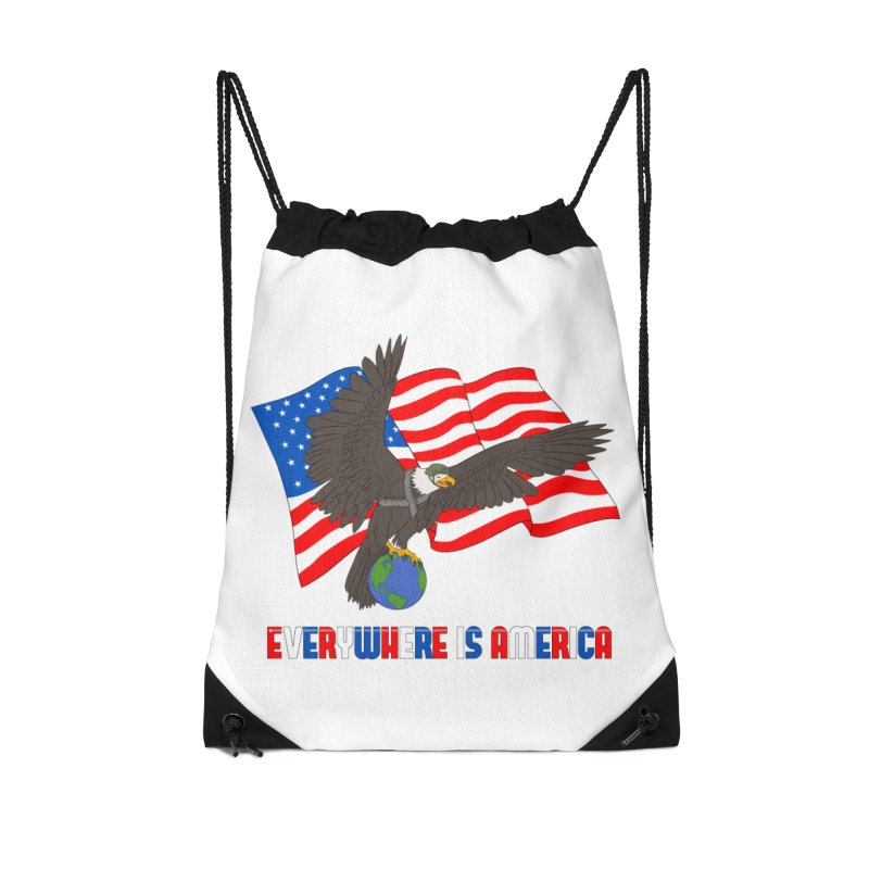 EVERYWHERE IS AMERICA Accessories Drawstring Bag Bag by farorenightclaw's Shop