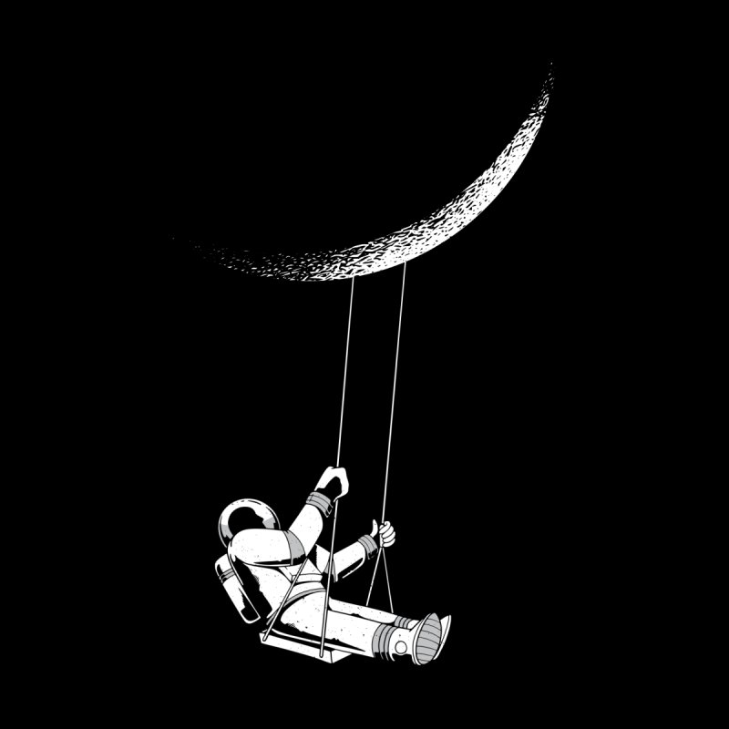 Astronaut Swinging From The Moon Kids T-Shirt by Far Out Sky - A Popular Ventures Company