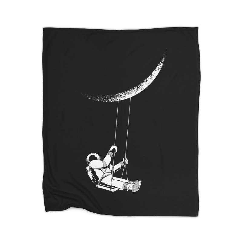 Astronaut Swinging From The Moon Home Blanket by Far Out Sky - A Popular Ventures Company