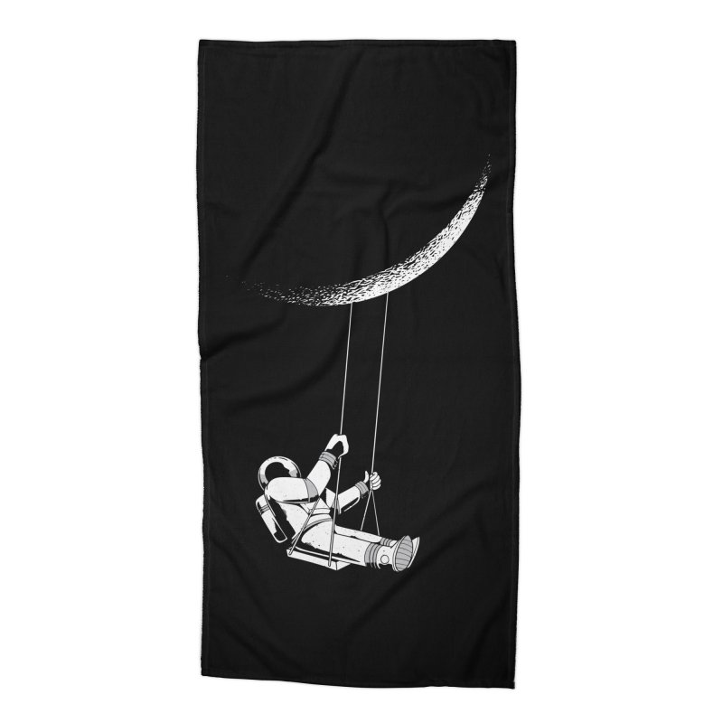 Astronaut Swinging From The Moon Accessories Beach Towel by Far Out Sky - A Popular Ventures Company