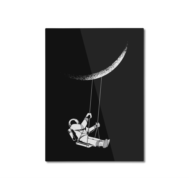 Astronaut Swinging From The Moon Home Mounted Aluminum Print by Far Out Sky - A Popular Ventures Company