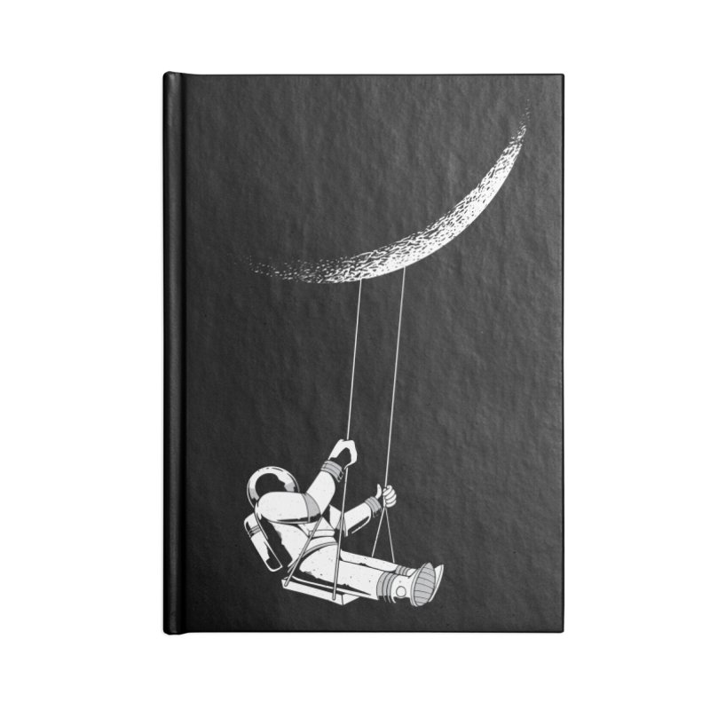 Astronaut Swinging From The Moon Accessories Notebook by Far Out Sky - A Popular Ventures Company