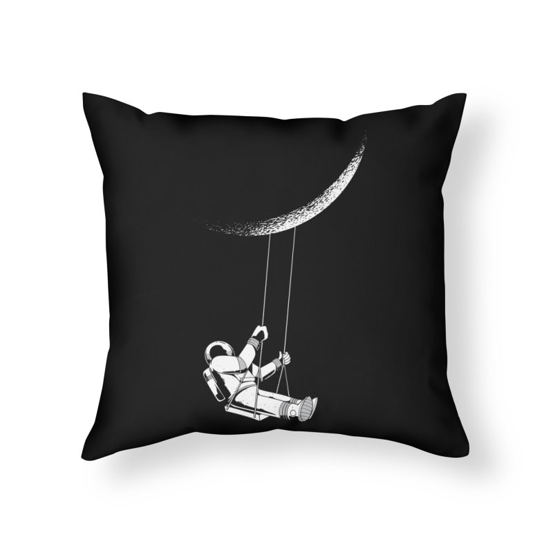 Astronaut Swinging From The Moon Home Throw Pillow by Far Out Sky - A Popular Ventures Company