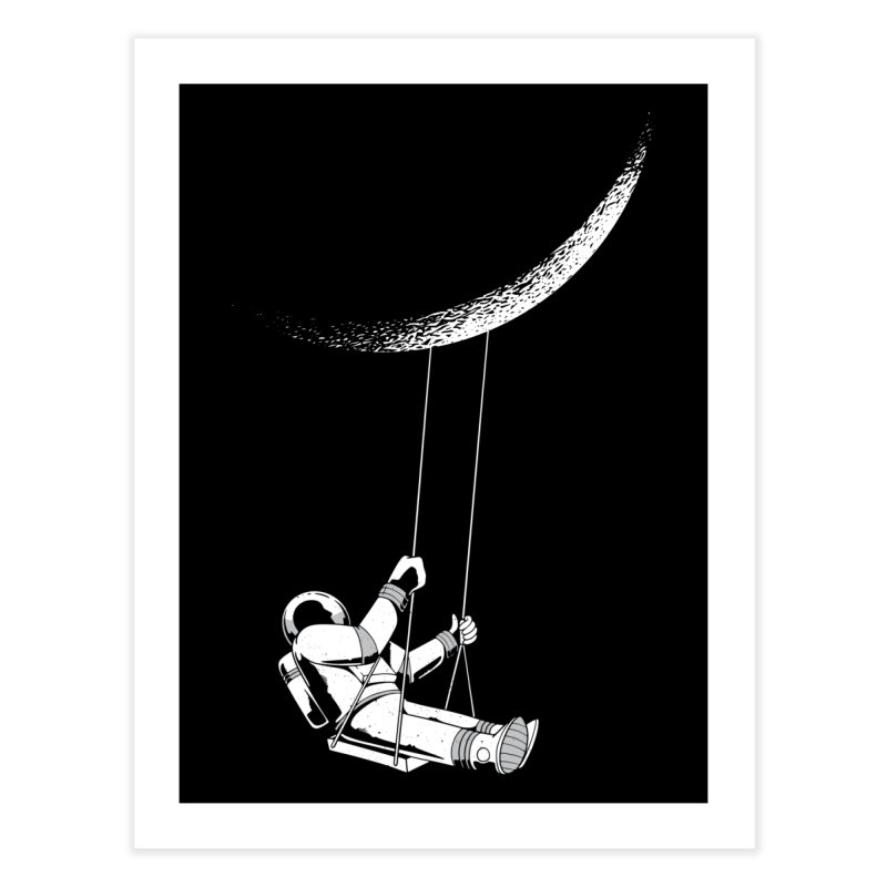 Astronaut Swinging From The Moon Home Fine Art Print by Far Out Sky - A Popular Ventures Company