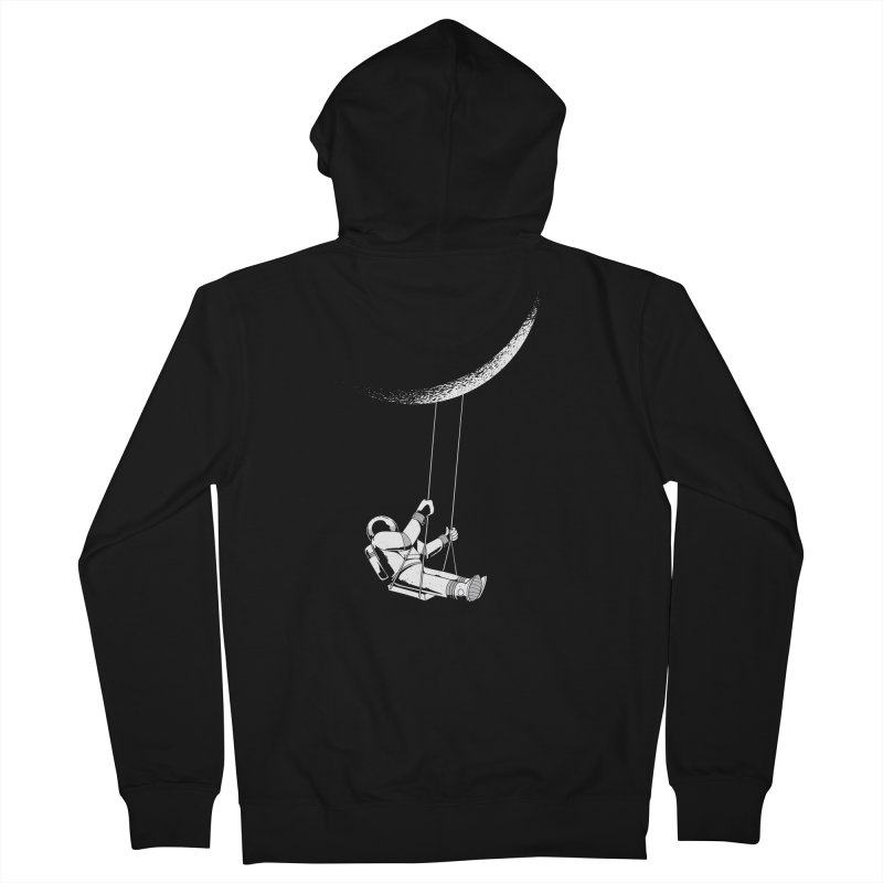 Astronaut Swinging From The Moon Men's Zip-Up Hoody by Far Out Sky - A Popular Ventures Company