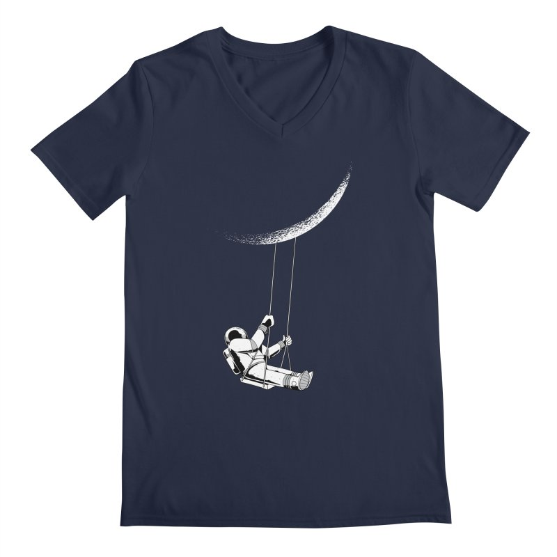 Astronaut Swinging From The Moon Men's V-Neck by Far Out Sky - A Popular Ventures Company